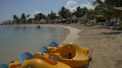 Swimming and relaxing on the seashore in Jamaica Stock Footage