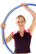 Twirling a hoop - stock photo