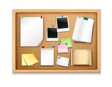 Stock Illustration of Cork Board With Papers