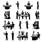 Stock Illustration of People In Casino Black