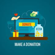 Stock Illustration of Donations online with laptop icon