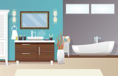 Modern Bathroom Interior - stock illustration