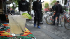 Sidewalk cafe margarita. Stock Footage