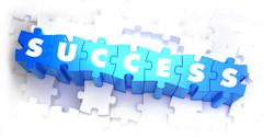 Success - White Word on Blue Puzzles Stock Illustration
