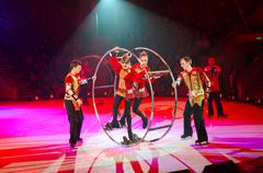 Action artistic troupe of the Moscow Circus on Ice - stock photo