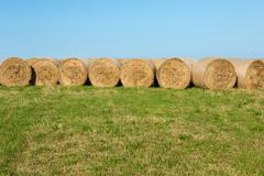 Hay Bales in Countryside Afternoon Sunshine Stock Photos