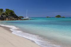 A catamaran moored near Spearn Bay, Antigua, Leeward Islands, West Indies, Stock Photos