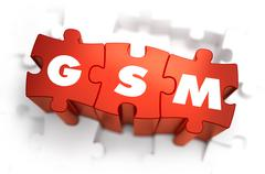 GSM - Text on Red Puzzles - stock illustration