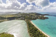 Aerial view of a lagoon on the Caribbean island of Antigua a thin line of sand Stock Photos