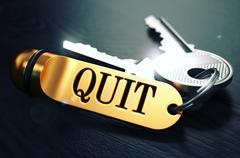Quit written on Golden Keyring - stock illustration