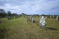 Megalithic stones in the Menec Alignment at Carnac, Brittany, France, Europe Stock Photos
