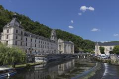 Abbey by the River Dronne, Brantome, Dordogne, Aquitaine, France, Europe - stock photo