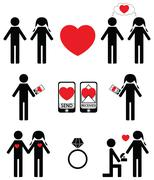 Falling in love and engagement icons Stock Illustration