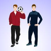 Two sports man with a soccer ball - stock illustration