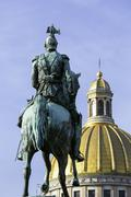 Golden dome of St. Isaac's Cathedral, built in 1818, and the equestrian statue Stock Photos