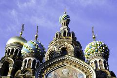 Domes of Church of the Saviour on Spilled Blood, UNESCO World Heritage Site, St. Stock Photos