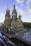 Stock Photo of Domes of Church of the Saviour on Spilled Blood, UNESCO World Heritage Site, St.