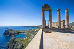 Acropolis of Lindos, Rhodes, Dodecanese Islands, Greek Islands, Greece, Europe - stock photo
