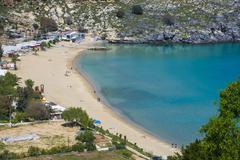 Pallas beach in Lindos, Rhodes, Dodecanese Islands, Greek Islands, Greece, - stock photo