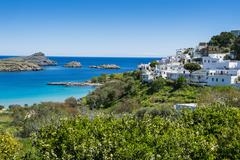 The white houses of the town of Lindos, Rhodes, Dodecanese Islands, Greek - stock photo