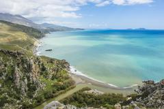 View over Preveli beach, Crete, Greek Islands, Greece, Europe - stock photo