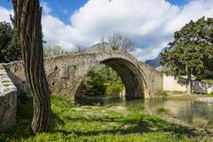 Old Roman bridge, Preveli, Crete, Greek Islands, Greece, Europe - stock photo