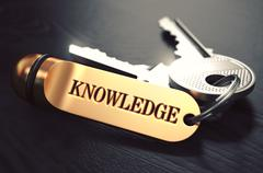 Keys to Knowledge. Concept on Golden Keychain Stock Illustration