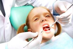 Child at the dentistry - stock photo
