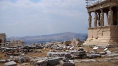 The Erechtheion.  Athens Acropolis Stock Footage
