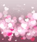 Happy Valentines Day celebration greeting card - stock illustration