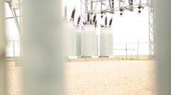Pan Shot of Electrical Potheads at Power Substation Stock Footage