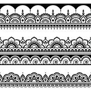 Stock Illustration of Indian seamless pattern, design elements - Mehndi tattoo style