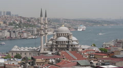 View of the gulf  Gold Horn and Suleymaniye Mosque, Istanbul Stock Footage