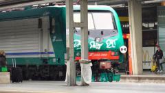 Train departure at Mestre platform toward Santa Delucia station in Venice - stock footage
