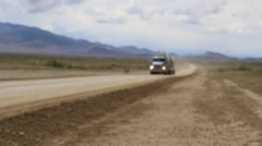 Soft Focus of Truck/Tanker on Prairie Road Stock Footage