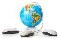Globe with mice - stock photo