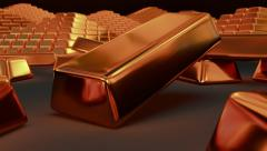 Animated falling fine bar of copper 3 Stock Footage