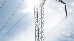 Tilt Up of High Tension Power Line Pylon - stock footage