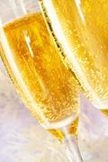 Two champagne flutes - stock photo