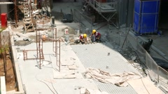 Workers put tiles in new pavement pedestrian way, top view Stock Footage