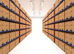 Warehouse shelves filled with boxes - stock illustration