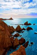 Almeria Cabo de Gata las Sirenas point rocks - stock photo