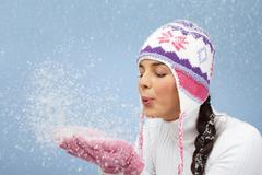 Snow fun - stock photo