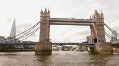 Sightseeing boat trip on River Thames with Tower Bridge and Shard - stock footage
