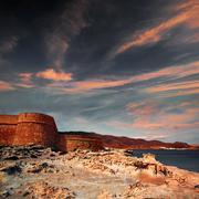 Almeria Cabo de Gata fortress Los Escullos beach Stock Photos