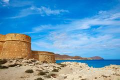 Almeria Cabo de Gata fortress Los Escullos beach - stock photo