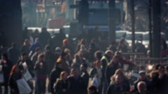 Crowd Of People Deep In City Bokeh Stock Footage