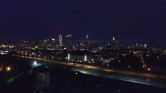 Aerial of Atlanta at night Stock Footage