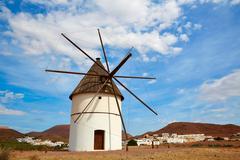 Almeria Molino Pozo de los Frailes windmill Spain Stock Photos