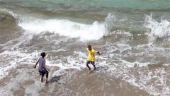 African boys fishing in beach in cape verde Africa Stock Footage